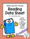 SIMPLE & EASY-to-use Reading Data Sheet for Special Education