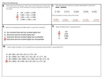 Reading Decimals - 5.NBT.3