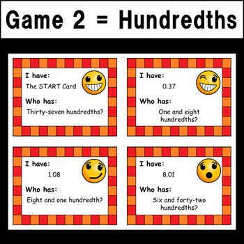"Reading Decimals ""I Have...Who Has?"" Games - Tenths & Hundredths Versions"