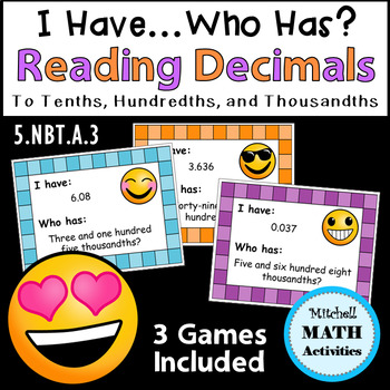 """Reading Decimals """"I Have...Who Has?"""" Games - Thousandths Versions"""