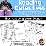Reading Comprehension Passages and Questions with Phonics Activities - Vowels
