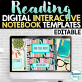 Reading Digital Interactive Notebook Templates EDITABLE |