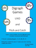 Reading Digraph Games. UNO and Pitch and Catch