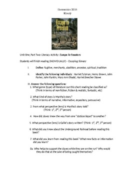 """Reading Discussion Activity: Reader """"Escape to Freedom"""""""