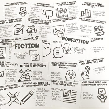 Reading Discussion Cards | Starters | Fiction & Nonfiction | Book Clubs