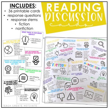Distance Learning Reading Discussion Cards | Starters | Fiction & Nonfiction