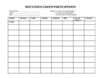 Reading Discussion Group Accountability Chart