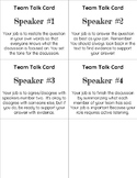 Reading Discussion Role Cards (4 Team Members)