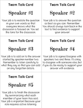 Reading Discussion Role Cards (5 Team Members)