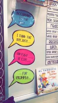 Text-Dependent/Accountable Talk Reading/Discussion Sentence Stem Speech Bubbles