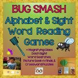 Alphabet & Level 1 & 2 Sight Word Bug Smash Games +Magnifying Glass Seek-n-Finds