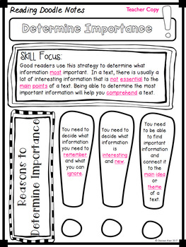 Reading Doodle Notes - 26 Skills and Strategies