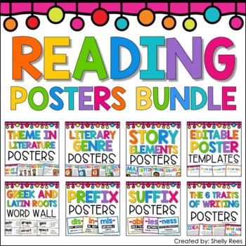 Reading Posters BUNDLE - Theme, Prefixes, Suffixes, Greek & Latin Roots, & MORE!