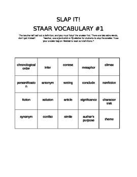 Reading ELA STAAR Vocabulary practice