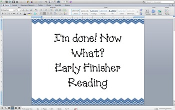 Reading Early Finisher Activity Task Cards