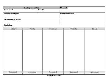 Reading Editable Lesson Plan Format