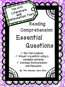 Reading: Essential Questions- Common Core Comprehension Lesson Plan