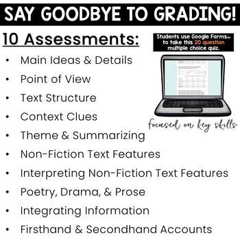 Self-Grading Reading Assessments Bundle: Digital & Printable