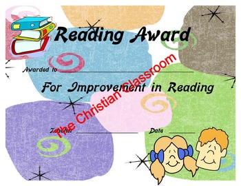 Reading Excellence and Improvement Certificates and awards