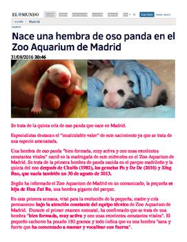 Reading Exercise for Los Animales Cachorra Panda