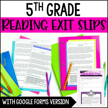 Reading Exit Slips | 5th Grade Exit Tickets for Reading