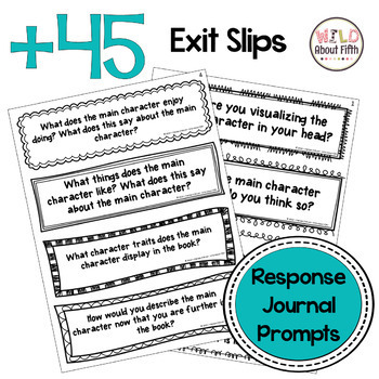 Reading Exit Slips - Character Study (Grades 3-6)