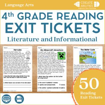 Reading Exit Tickets 4th Grade