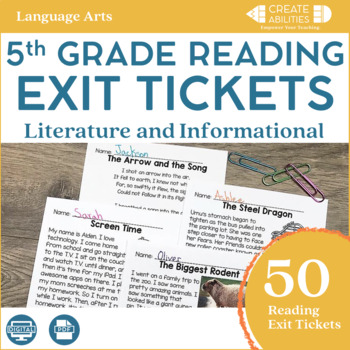 Reading Exit Tickets 5th Grade