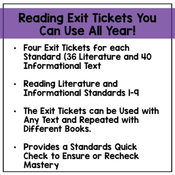 Reading Exit Tickets Bundle for 3rd Grade: Literature and Informational Text