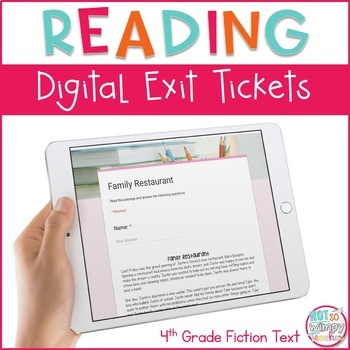 Reading Exit Tickets for Google Classroom- Fourth Grade Fiction