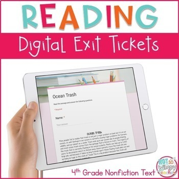 Reading Exit Tickets for Google Classroom- Fourth Grade Informational