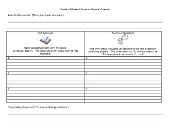 Reading Extended Response Graphic Organizer