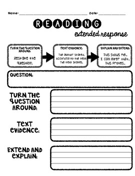 Reading Extended Response Guidance Worksheet