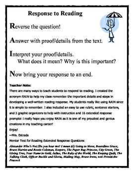 Reading Extended Response Making Meaning Compatible 3rd grade