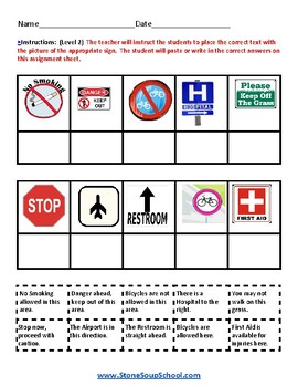 Reading: Outdoor Signs - Life Skills - Visual Aid