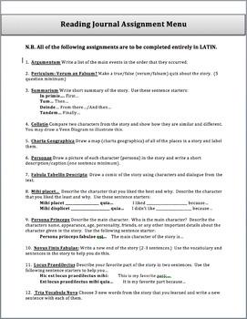 Reading Extension Activities (Reading Journal Menu)