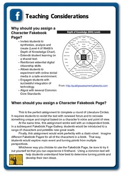 Reading Extension Project--Character Fakebook Page