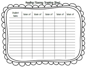 Reading Fluency Tracking Sheet