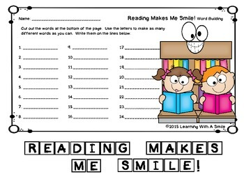 Word Building FREEBIE - Great Activity for Fast Finishers and Centers