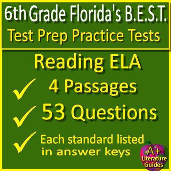 6th Grade FSA Reading Test Prep Practice Set, Print and ...