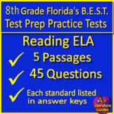 8th Grade FSA Reading Test Prep - Printable & SELF-GRADING GOOGLE FORM QUIZZES!