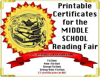 Reading award certificates editable teaching resources teachers reading fair certificates editable middle school fiction nonfiction awards yelopaper Choice Image
