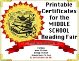 Reading Fair Certificates - Editable Middle School Fiction
