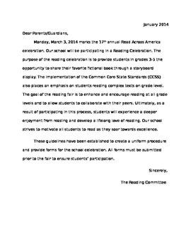 Reading Fair Letter