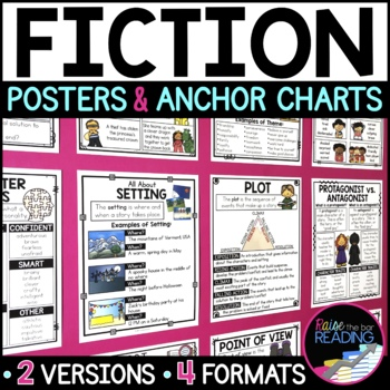 Reading Fiction Posters, Fiction Anchor Charts & Reader's Notebook Sheets