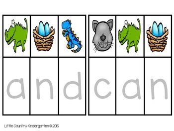 Reading File Folder Games RF.K.3.C: Sight Word Puzzles