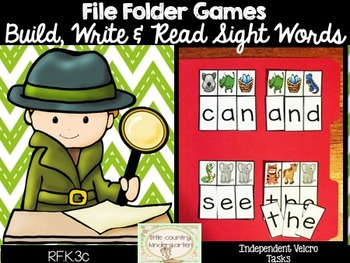 Reading File Folder Games RF.K.3c: Sight Word Puzzles