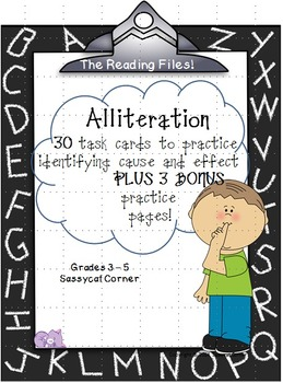 Reading Files - Alliteration Task Cards & Bonus Worksheets