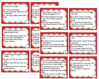 Reading Files - Multiple Meaning Words Task Cards
