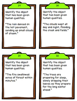 Reading Files - Personification Task Cards & Bonus Pages for Poetry and More!